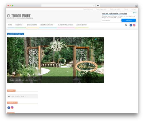 Magazine Hoot Premium WordPress blog template - outdoorbride.com