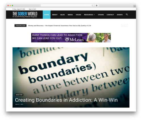 Newspaper WordPress magazine theme - thesoberworld.com