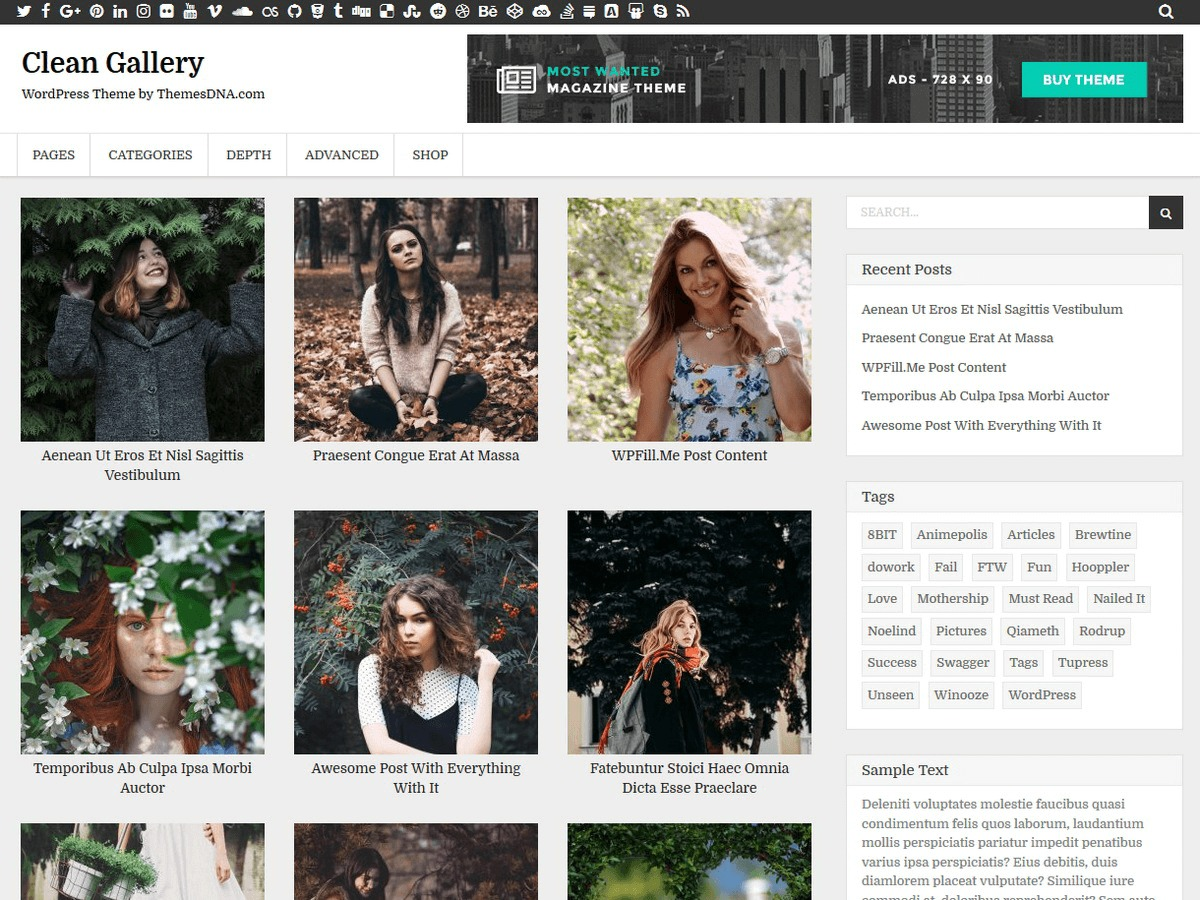 Clean Gallery Child WordPress template for photographers