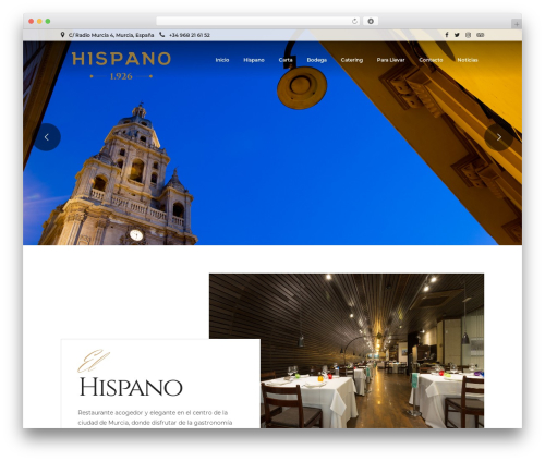 Grand Restaurant best WordPress theme - restaurantehispano.es