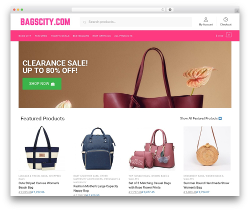 Best WordPress theme Shoptimizer - bagscity.com