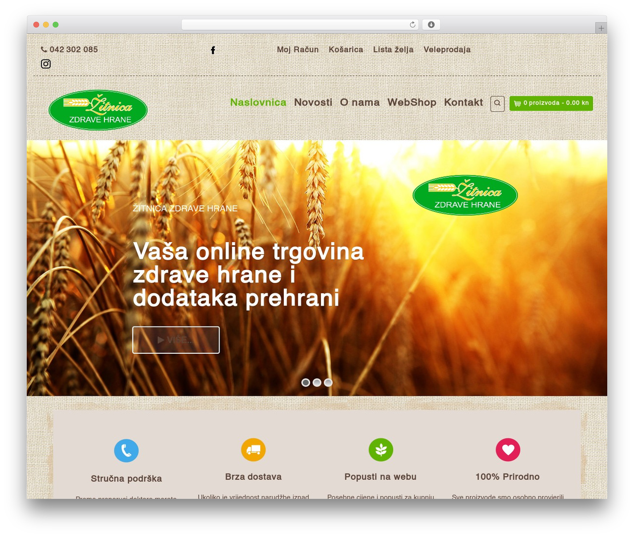 Organic Web Shop WP template - zitnica.hr