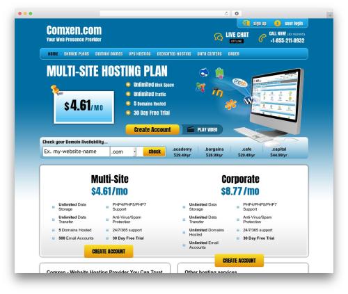PHP Hosting WordPress template - comxen.com