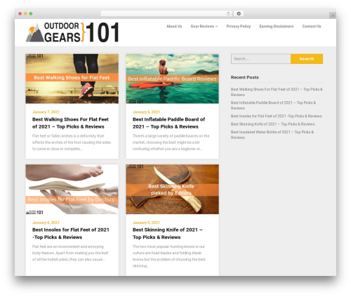 Reviewers Landing Page WordPress landing page theme - outdoorgears101.com