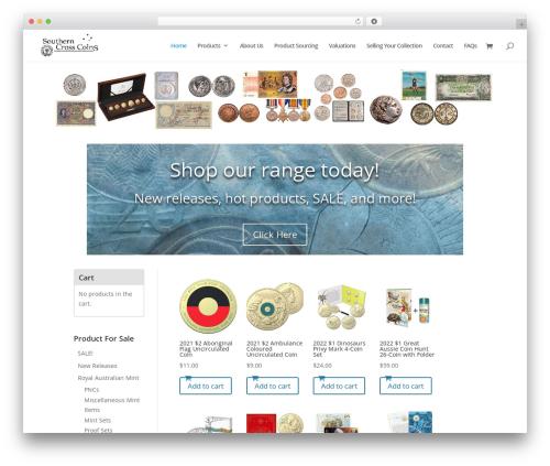 WordPress theme Divi - southerncrosscoins.com