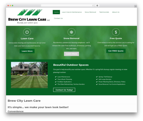 Flat Responsive Child WordPress theme design - brewcitylawncare.com