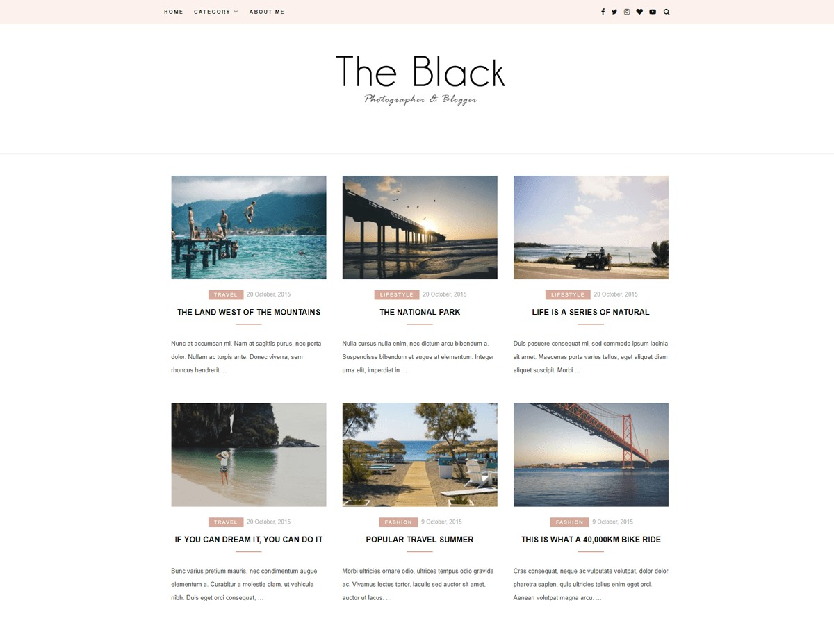 Blacklite Gird WordPress blog theme