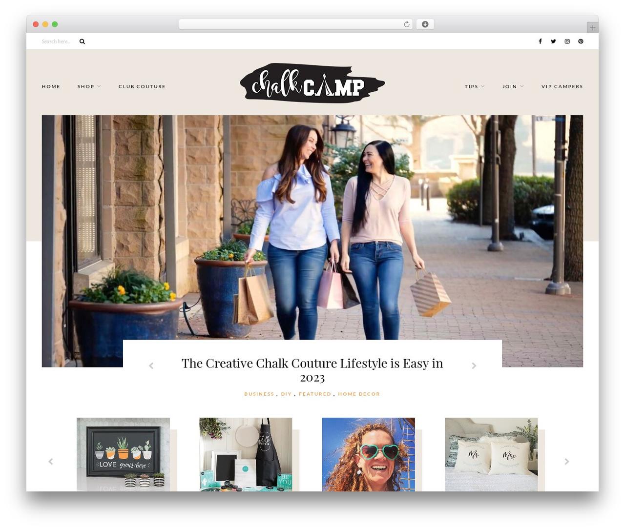 Caroline WordPress theme design - chalkcamp.com