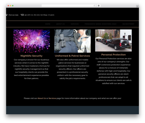 Bodyguard WordPress page template - 03security.com