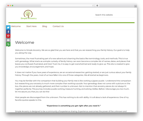 Generate Pro WordPress page template - simpleancestry.com