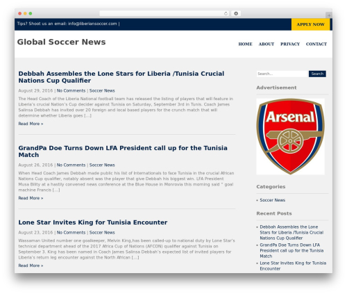 Institution theme WordPress - liberiansoccer.com