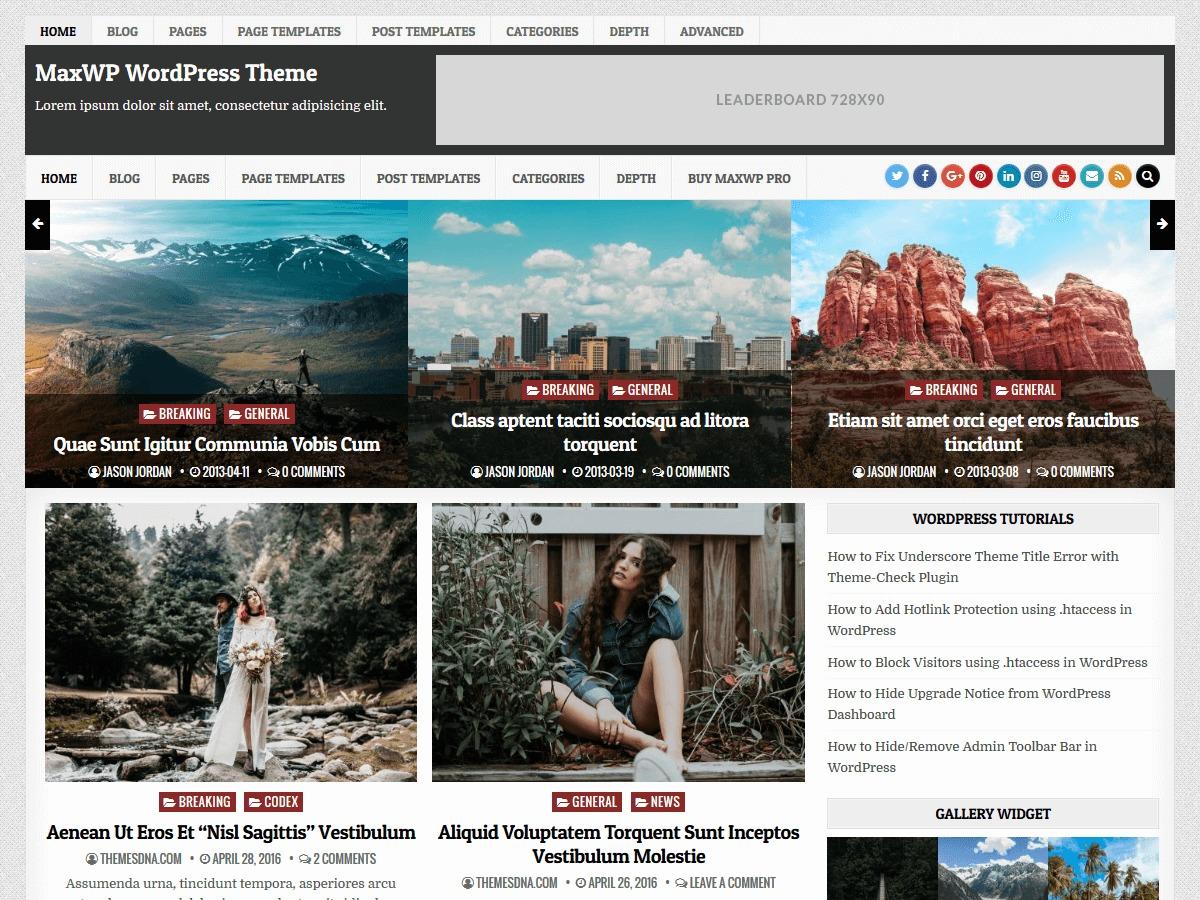 MaxWP WordPress news theme