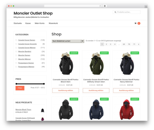 StoreDesign WordPress ecommerce theme - monclerbillig.com