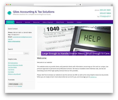 Customized company WordPress theme - gilesaccounting.net