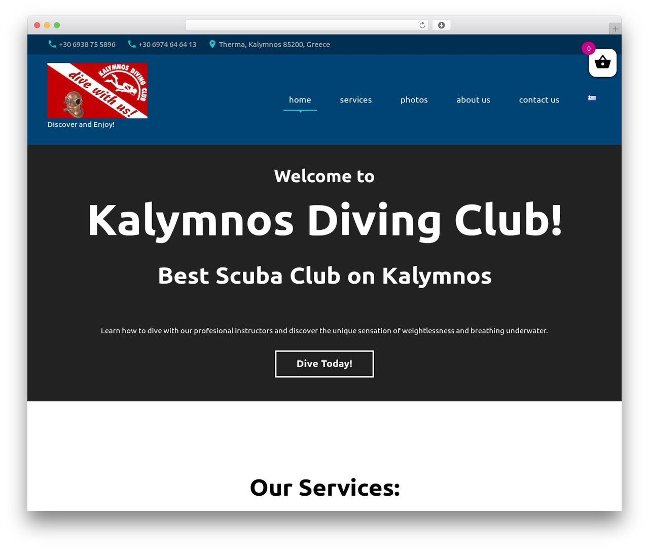NavyBlue WordPress template - kalymnosdiving.com