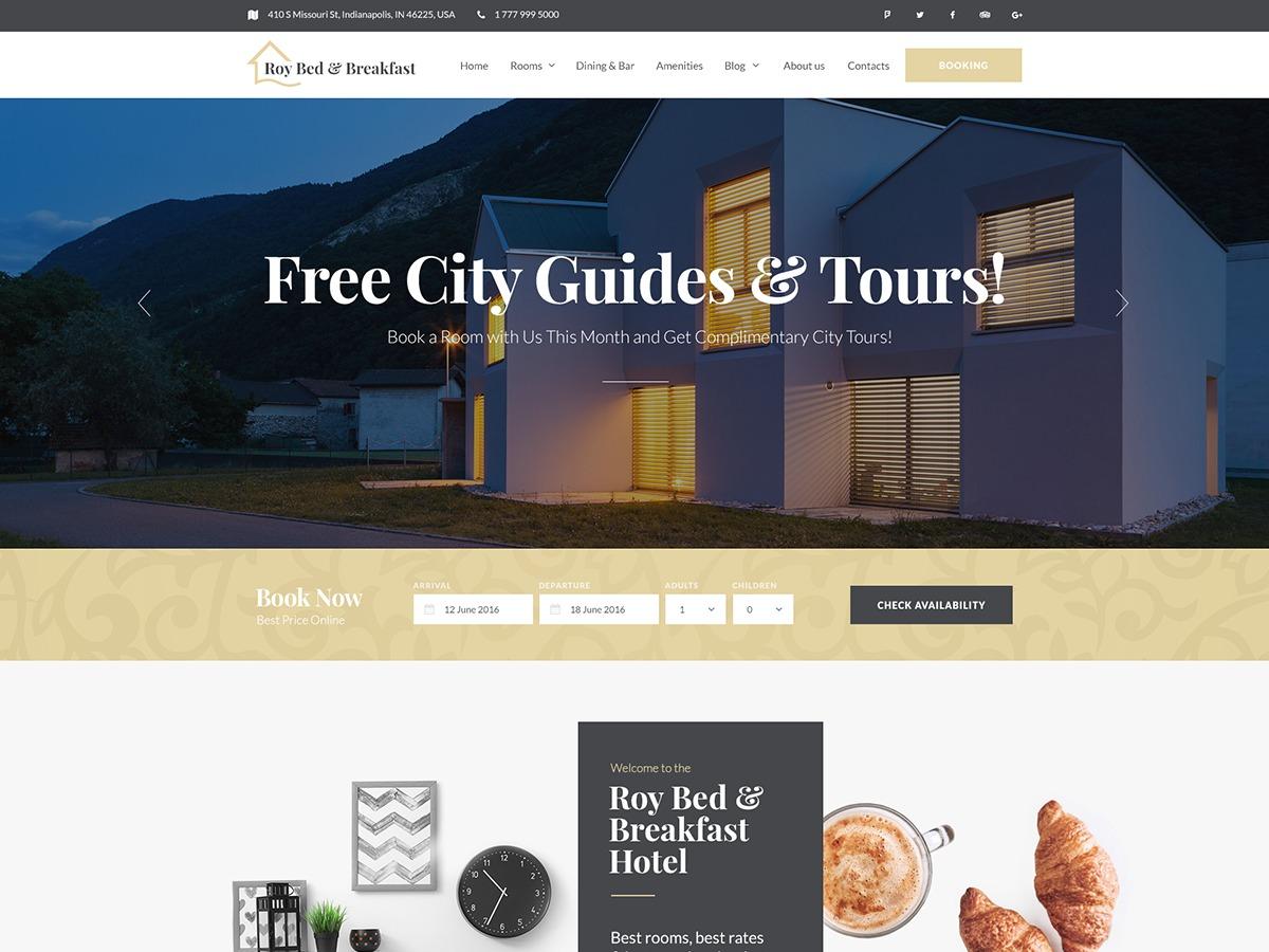 RoyBedAndBreakfast WordPress landing page builder