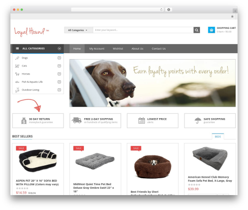 SW Market WordPress shop theme - loyalhound.com
