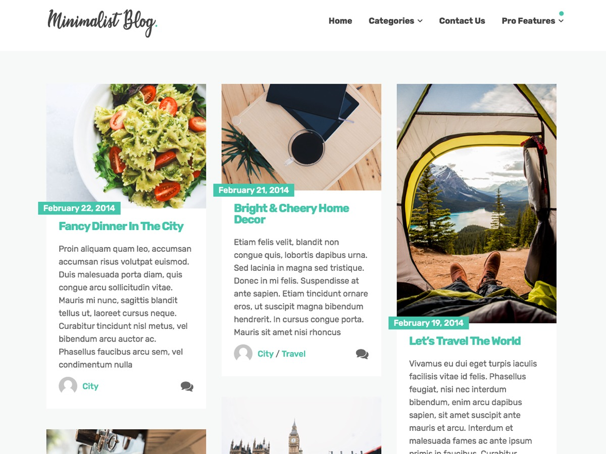 Minimalist Blog newspaper WordPress theme