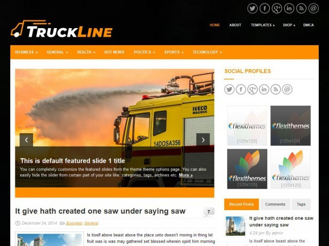 TruckLine WordPress portfolio template