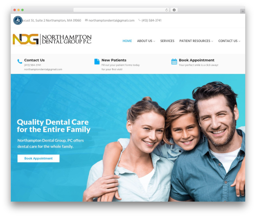 WordPress template Dental Care - dentistofnorthampton.com