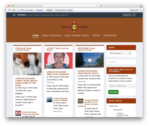 Extra WordPress blog template - toddtalkinecuador.com