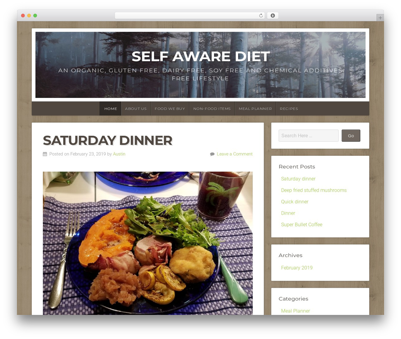 Natural Lite free WP theme - selfawarediet.com