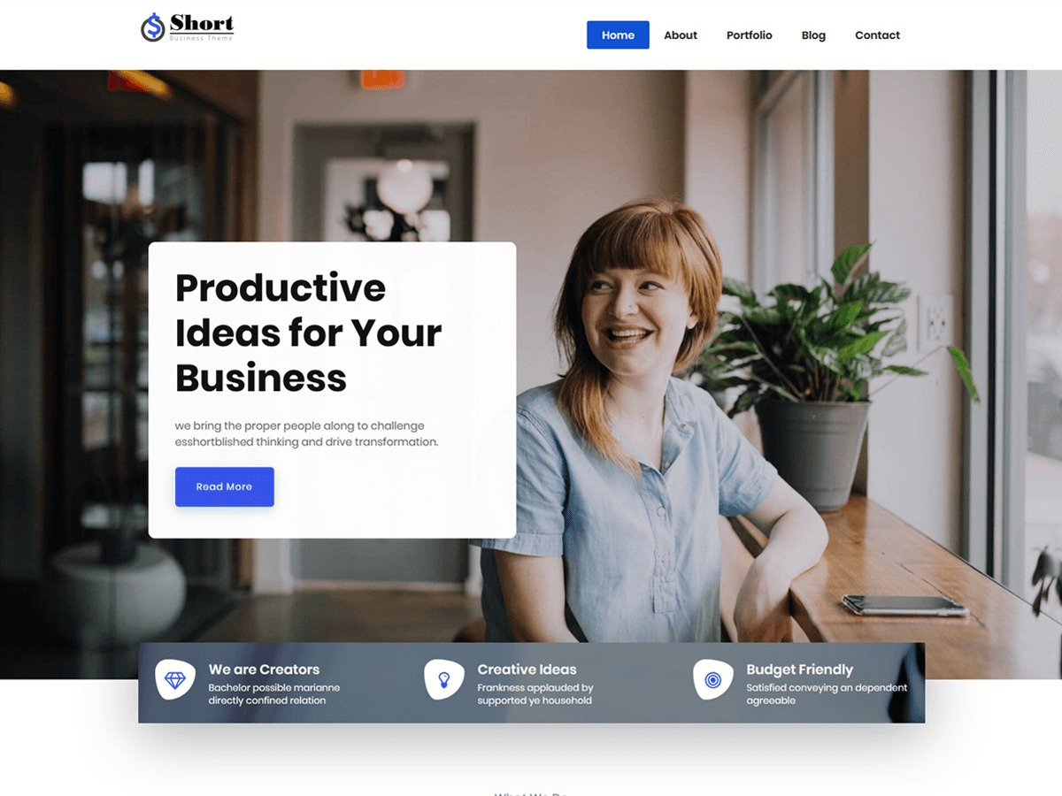 Short WordPress page template