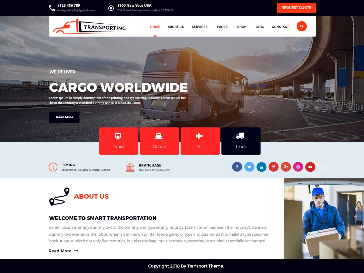 Transport Movers Pro wallpapers WordPress theme