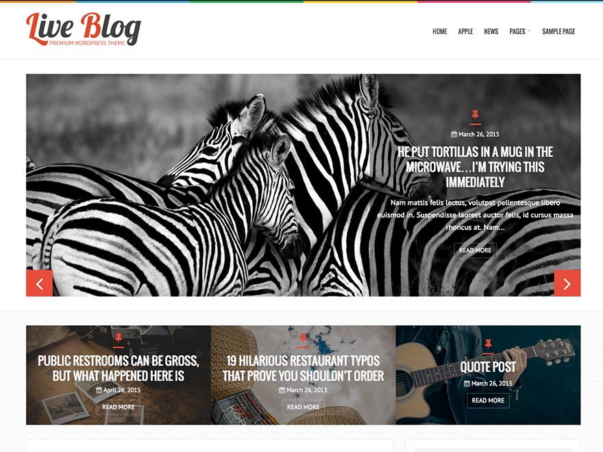 LiveBlog WordPress blog template