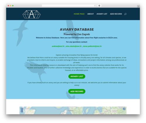 WordPress template Divi - aviarydatabase.com