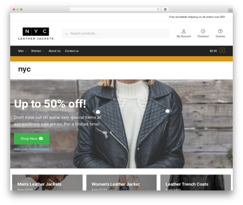 Best WordPress theme Shoptimizer - nycleatherjackets.com