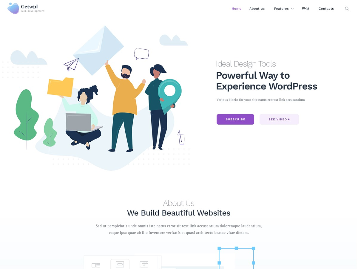Getwid Base theme WordPress portfolio