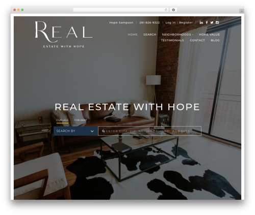 PlacesterTwo WordPress website template - realestatewithhope.com