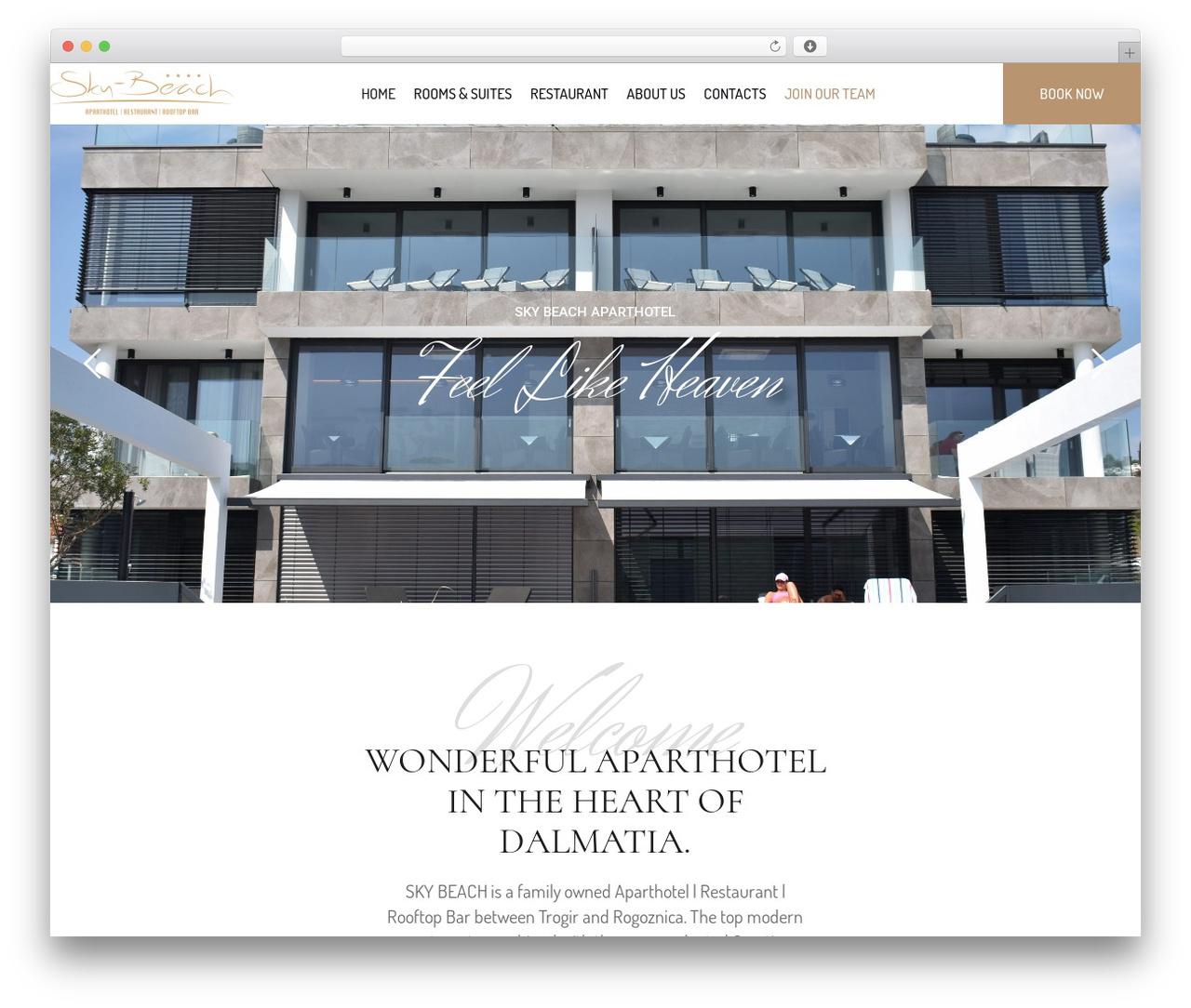 Hotel LUX WordPress hotel theme - sky-beach.com