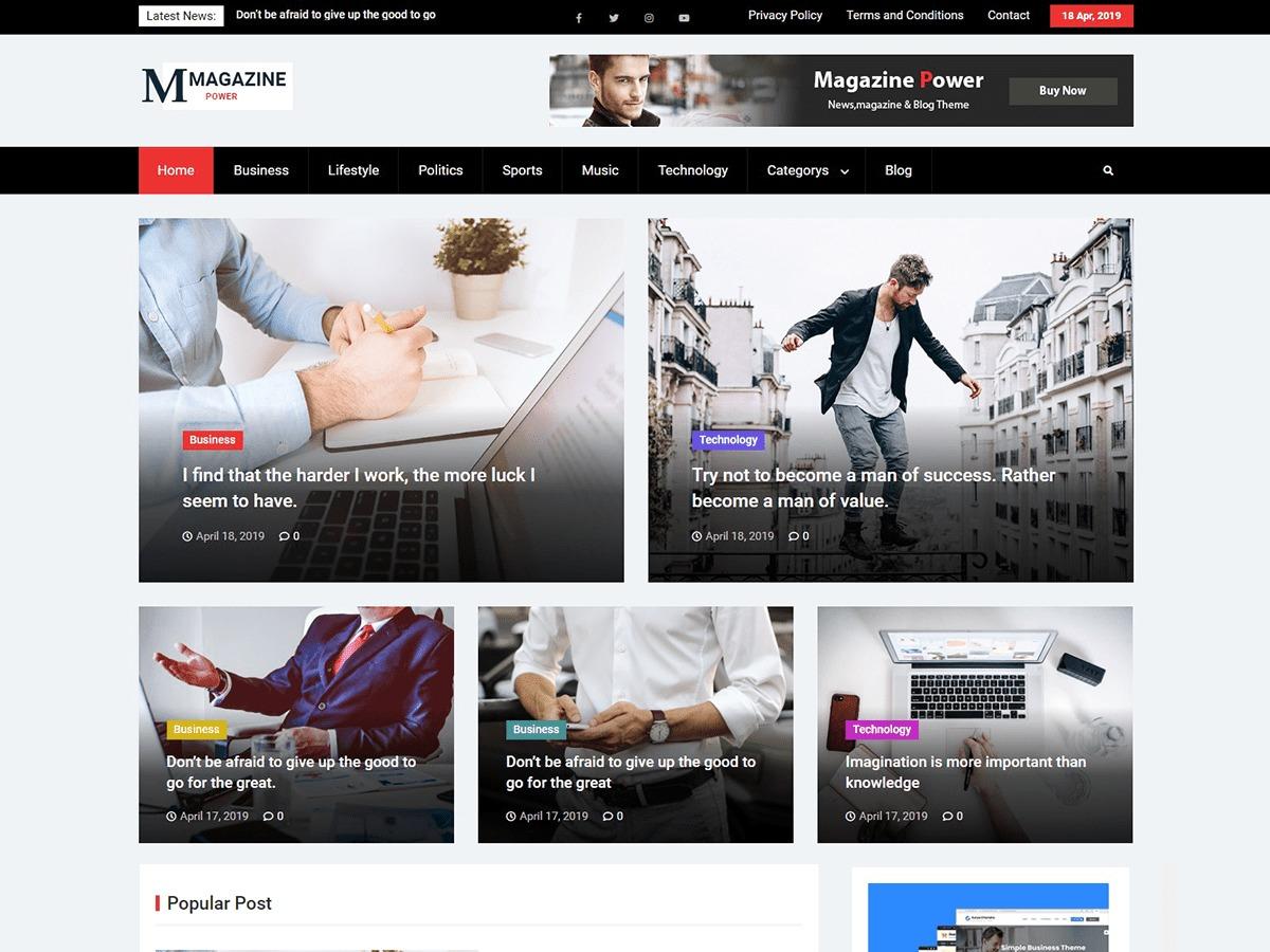 Magazine Power newspaper WordPress theme