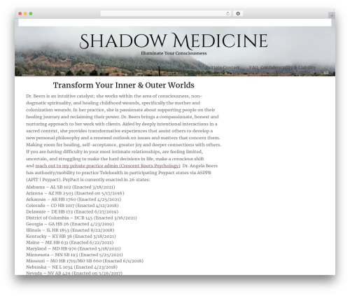 ZenLife WordPress page template - shadowmedicine.com