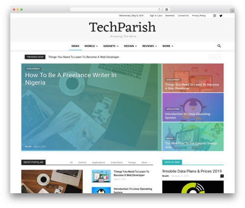 Newspaper best WordPress magazine theme - techparish.com