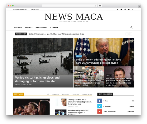 Newspaper WordPress magazine theme - newsmaca.com
