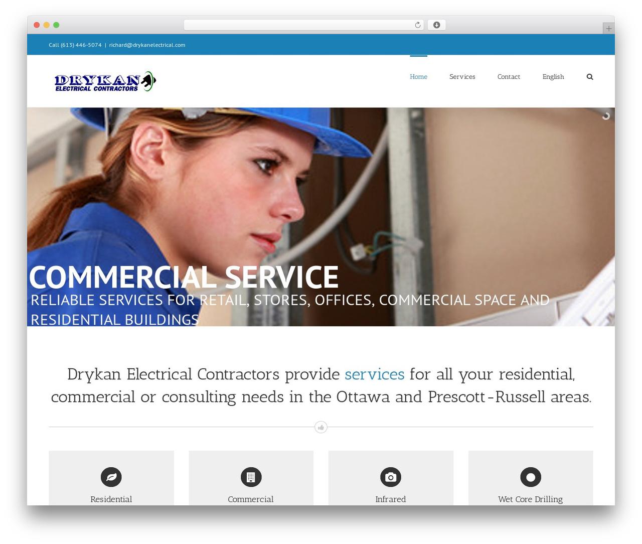 Avada WordPress theme - drykanelectrical.com