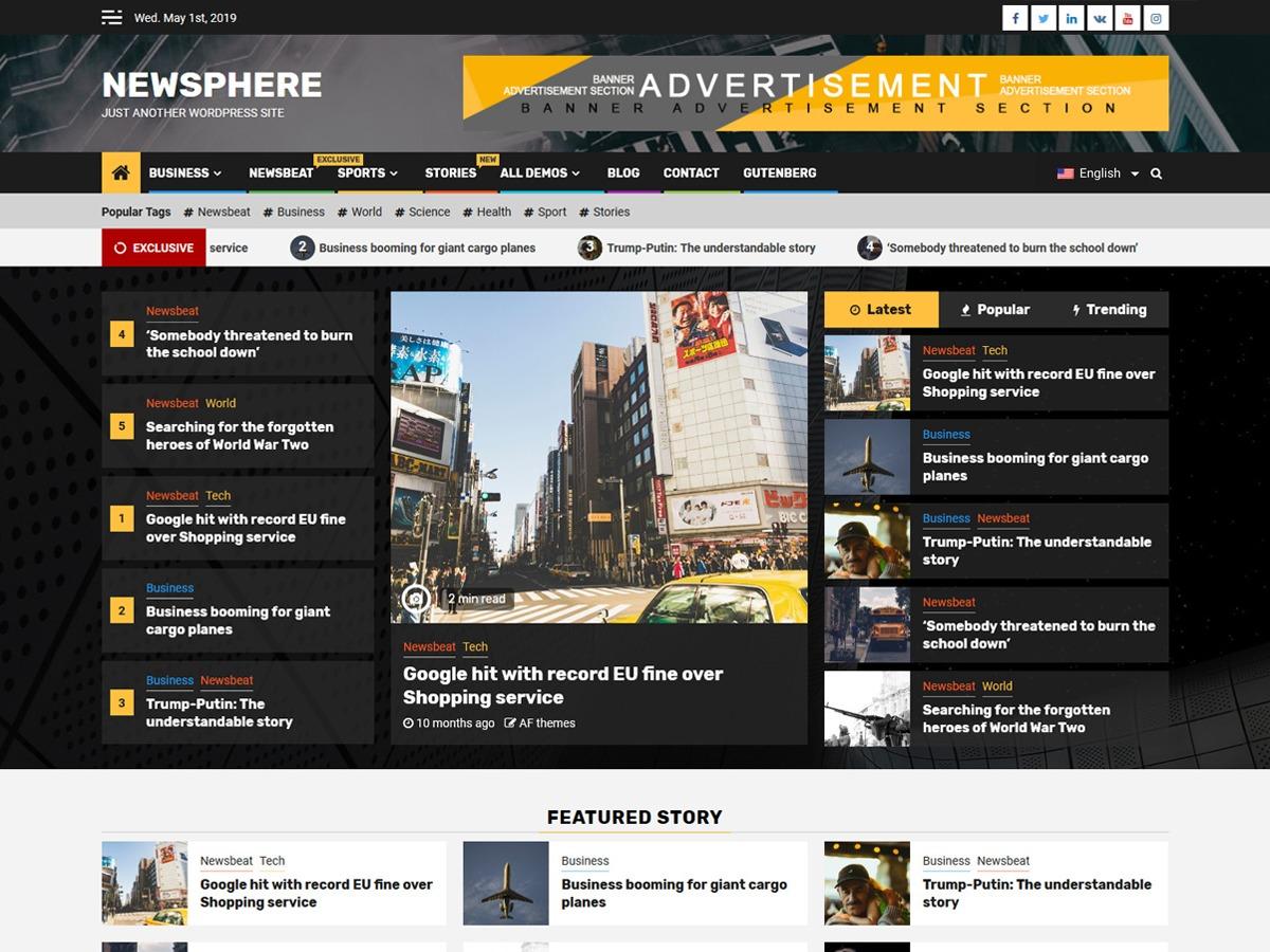 Newsphere WordPress news theme