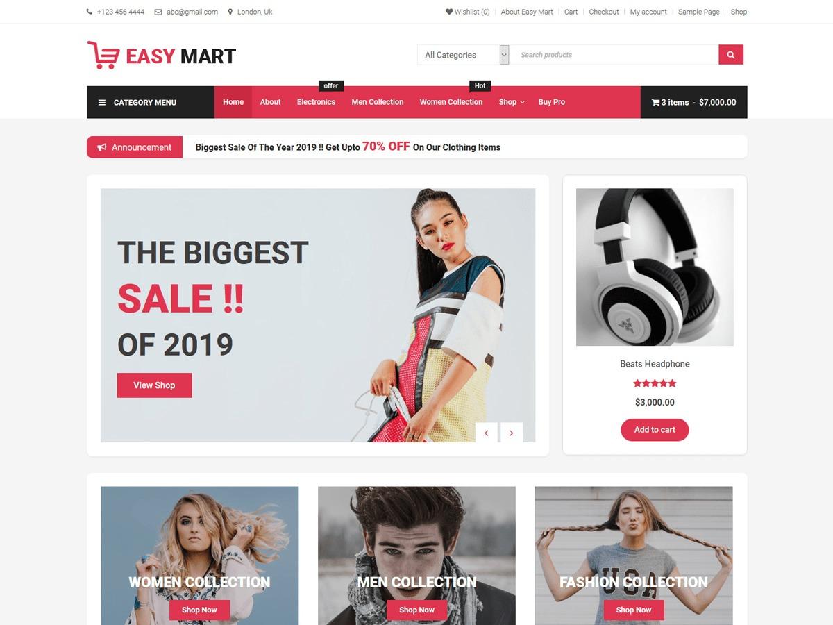 Easy Mart WordPress shopping theme