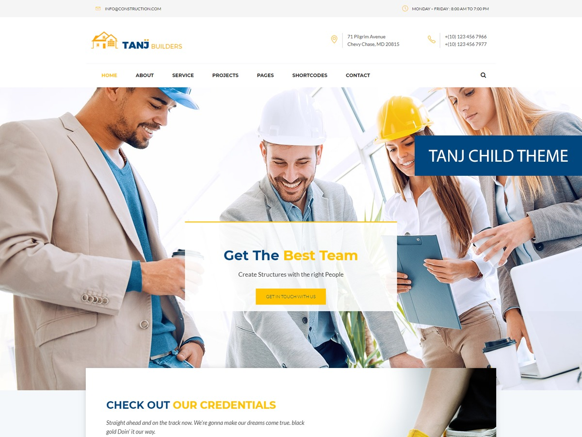 WordPress website template Tanj Child