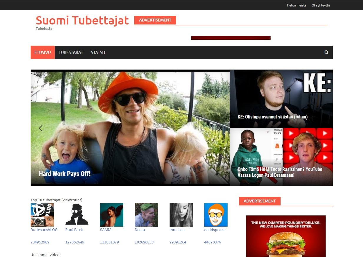 Suomi Tubettajat WordPress magazine theme