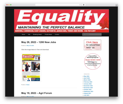 WP template Twenty Eleven - equalitynews.ca