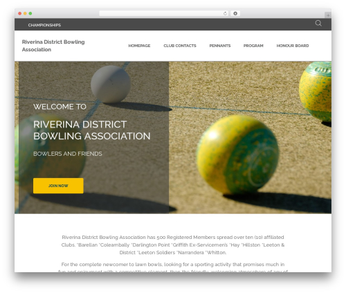 BA Club theme WP theme - riverinadba.bowls.com.au