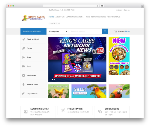 BoxShop WordPress ecommerce template - kingscages.com