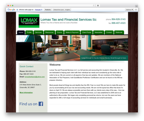 Customized WordPress template for business - lomaxfasttaxes.com
