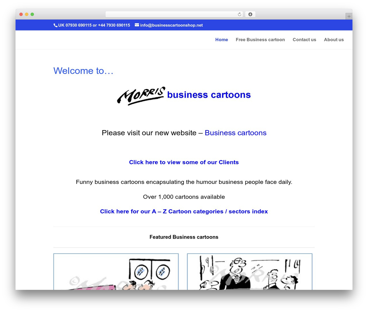 Divi WordPress template - businesscartoonshop.com
