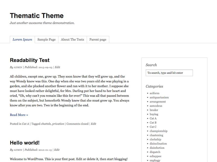 Thematic WordPress blog template