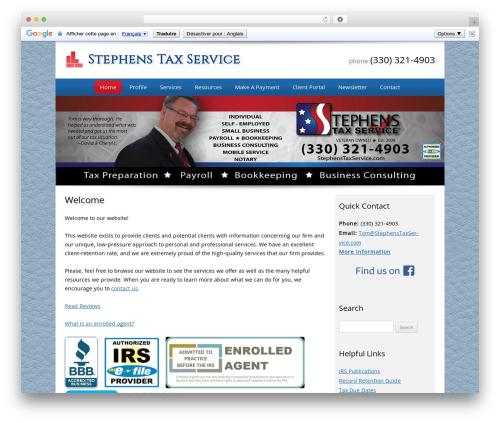 Customized company WordPress theme - stephenstaxservice.com